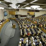 Russian Prime Minister Dmitry Medvedev presents his report at the State Duma