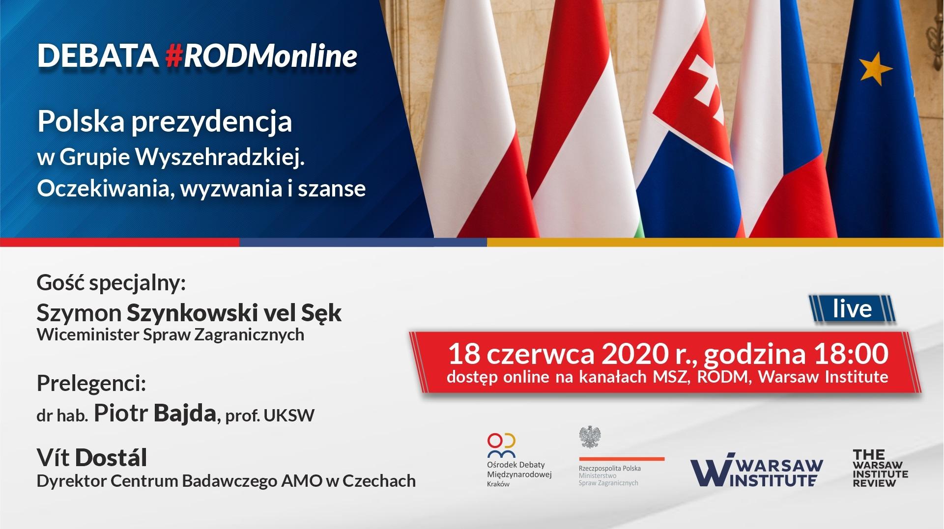 """#RODMonline: """"Polska prezydencja w Grupie Wyszehradzkiej – oczekiwania, wyzwania i szanse"""""""