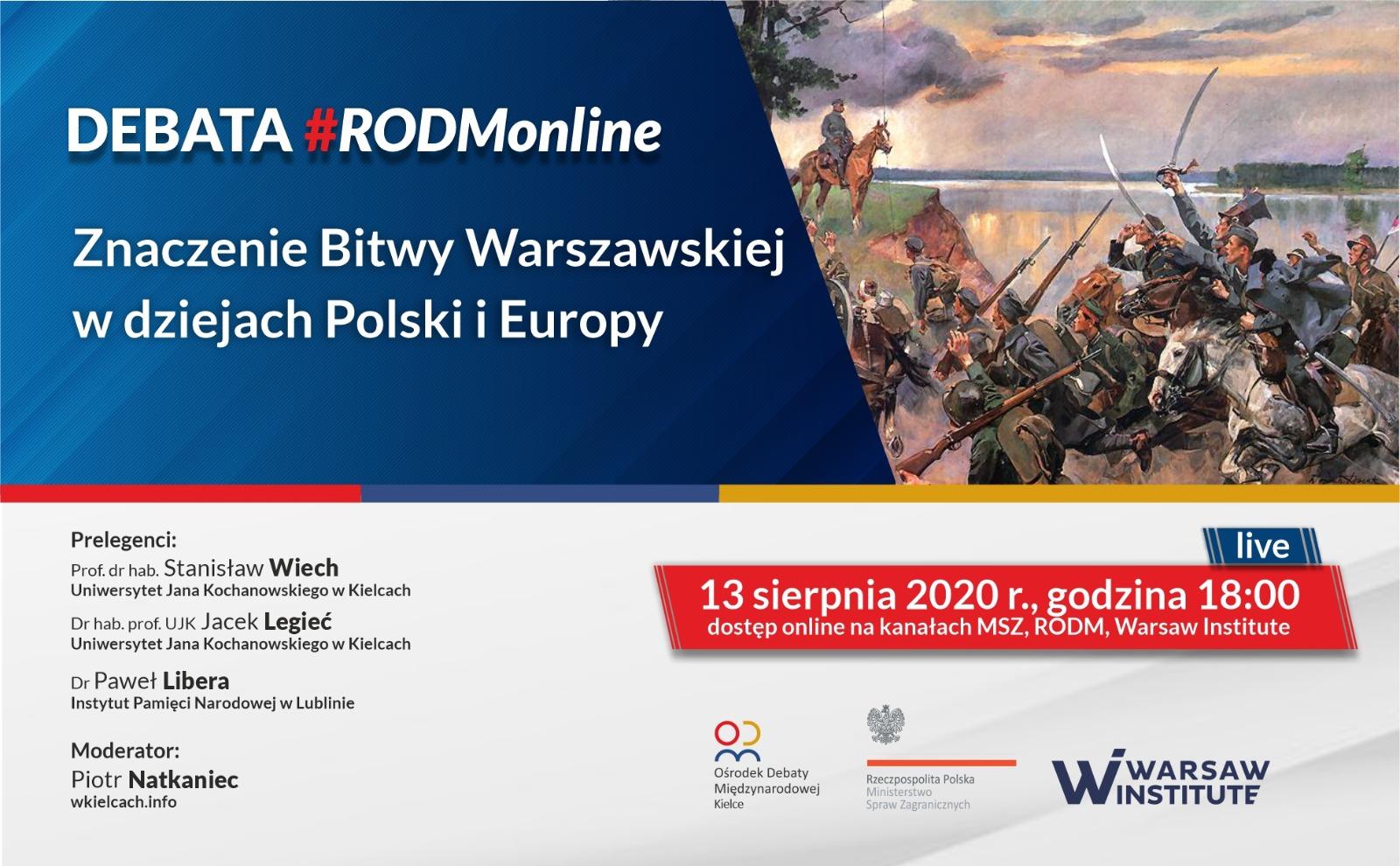 """#RODMonline: """"Znaczenie Bitwy Warszawskiej w dziejach Polski i Europy"""""""
