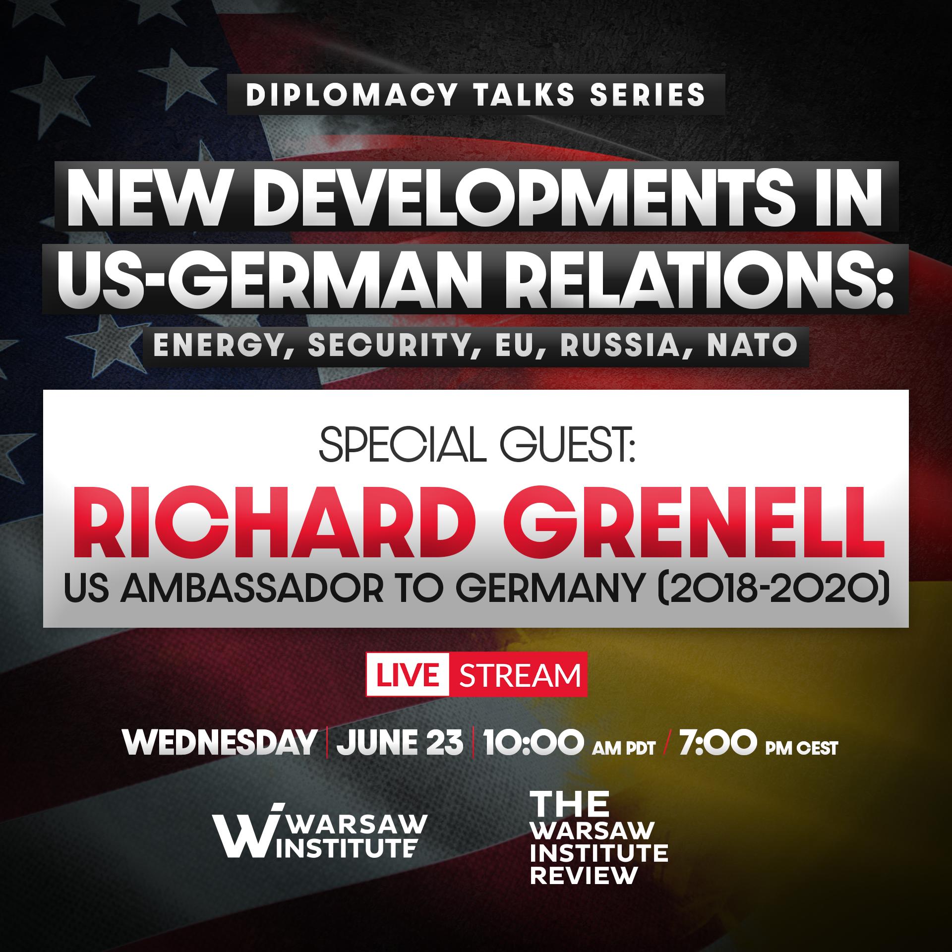 New developments in US-German relations: energy, security, EU, Russia, NATO