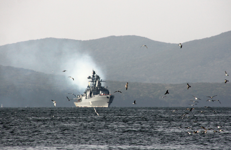 Rosyjskie i chińskie okręty w cieśninach Japonii